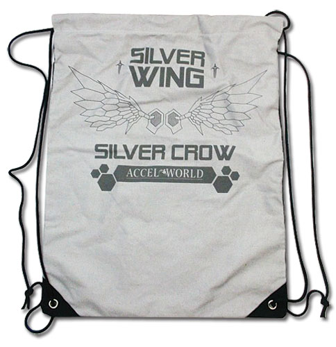 Accel World Silver Crow Wings Drawstring Bag officially licensed Accel World Bags product at B.A. Toys.