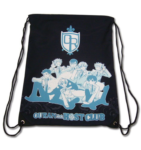Ouran H.S Host Club - Group Black Drawstring Bag, an officially licensed product in our Ouran High School Host Club Bags department.