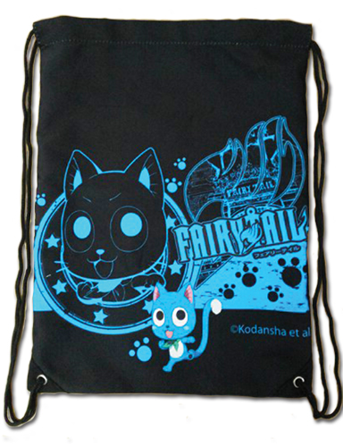 Fairy Tail - Happy Blue Drawstring Bag, an officially licensed Fairy Tail Bag