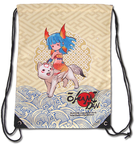 Okami Den - Chibiterasu & Nanami Drawstring Bag, an officially licensed product in our Okamiden Bags department.