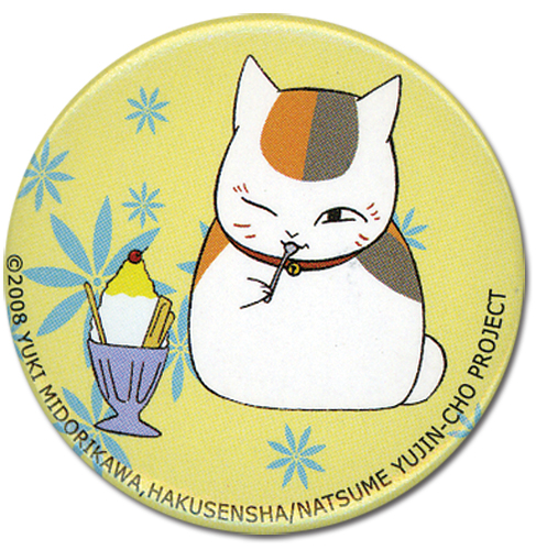 Natsume's Book Of Friends - Nyanko's Ice Cream Button 1.25'' officially licensed Natsume'S Book Of Friends Buttons product at B.A. Toys.