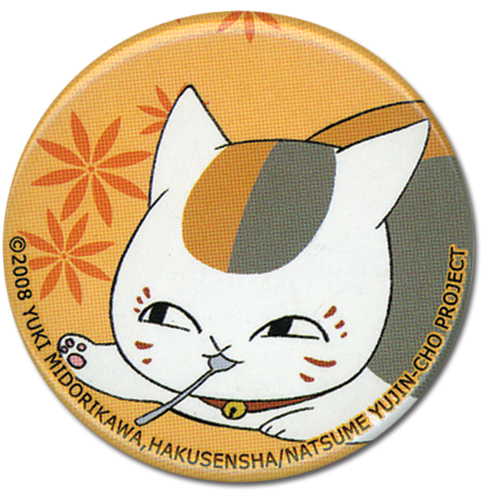 Natsume's Book Of Friends - Nyanko With Spoon Button, an officially licensed product in our Natsume'S Book Of Friends Buttons department.