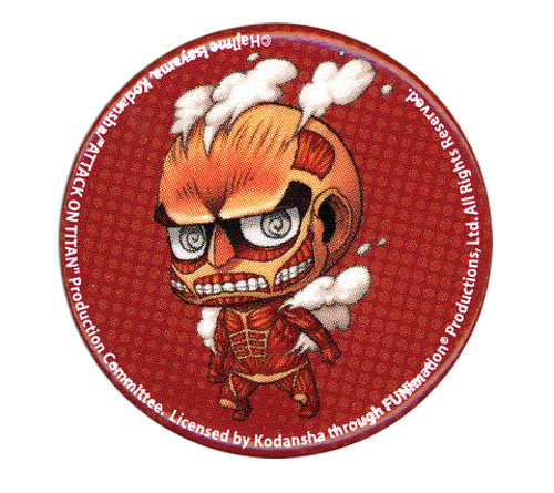 Attack On Titan - Sd Titan Button 1.25'', an officially licensed product in our Attack On Titan Buttons department.