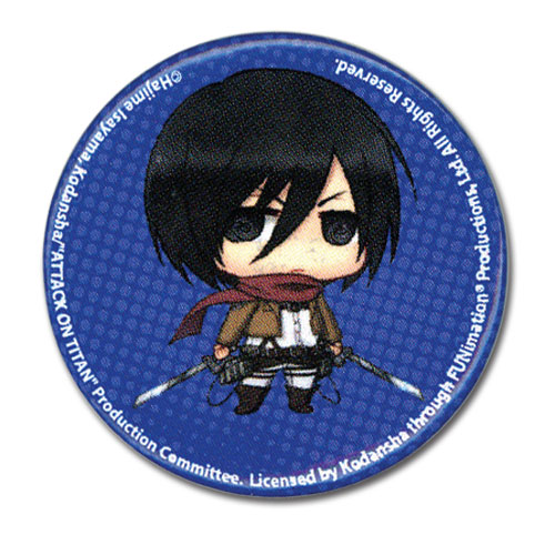 Attack On Titan - Sd Mikasa Button 1.25'' officially licensed Attack On Titan Buttons product at B.A. Toys.