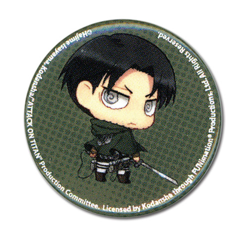 Attack On Titan - Sd Levi Button 1.25'' officially licensed Attack On Titan Buttons product at B.A. Toys.
