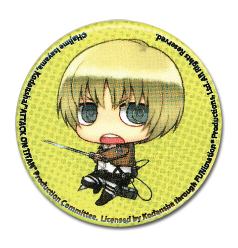 Attack On Titan - Sd Armin Button 1.25, an officially licensed Attack On Titan product at B.A. Toys.