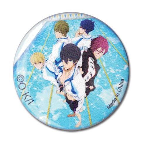 Free! - Group Key Art Button, an officially licensed product in our Free! Buttons department.