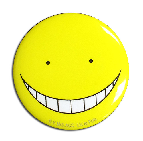 Assassination Classroom - Koro Sensei Happy Button 1.25'', an officially licensed Assassination Classroom product at B.A. Toys.