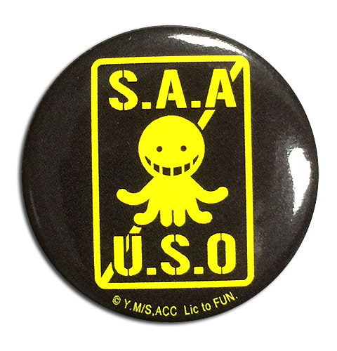Assassination Classroom - S.a.a.u.s.o. Button officially licensed Assassination Classroom Buttons product at B.A. Toys.