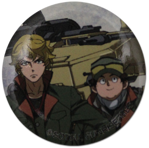 Gundam Iron Blooded Orphans - Eugene & Biscuit Button 1.25'', an officially licensed Gundam Iron-Blooded Orphans product at B.A. Toys.