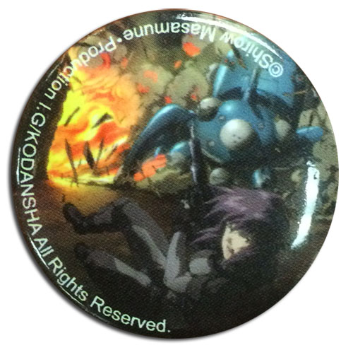 Ghost In The Shell - Motoko With Tachikoma Explosive Button, an officially licensed product in our Ghost In The Shell Buttons department.