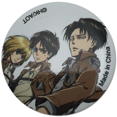 Attack On Titan - Armin, Eren & Levi Button 1.25'' officially licensed Attack On Titan Buttons product at B.A. Toys.