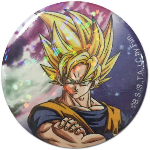 Dragon Ball Z - Super Saiyan Goku Glitter Button 1.25'' officially licensed Dragon Ball Z Buttons product at B.A. Toys.