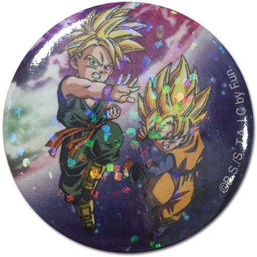 Dragon Ball Z - Ss Trunks & Goten Glitter Button 1.25'' officially licensed Dragon Ball Z Buttons product at B.A. Toys.