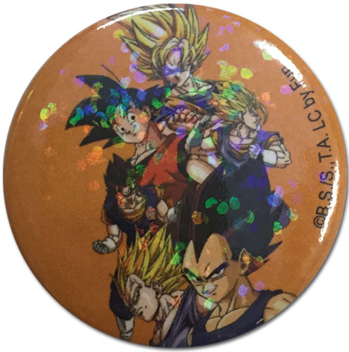 Dragon Ball Z - Goku & Vegeta Glitter Button 1.25'' officially licensed Dragon Ball Z Buttons product at B.A. Toys.