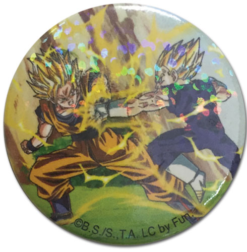 Dragon Ball Z - Goku Vs Vegeta Glitter Button 1.25'' officially licensed Dragon Ball Z Buttons product at B.A. Toys.
