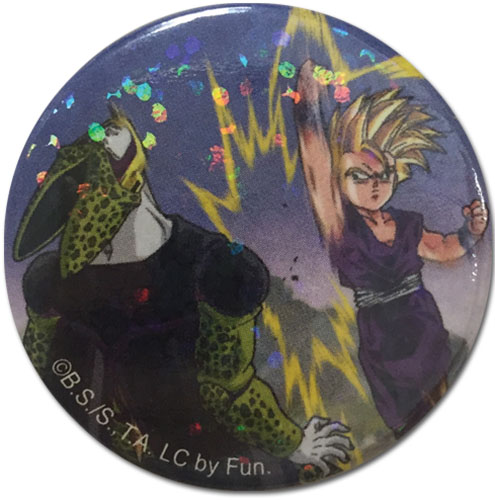 Dragon Ball Z - Cell & Gohan Glitter Button officially licensed Dragon Ball Z Buttons product at B.A. Toys.
