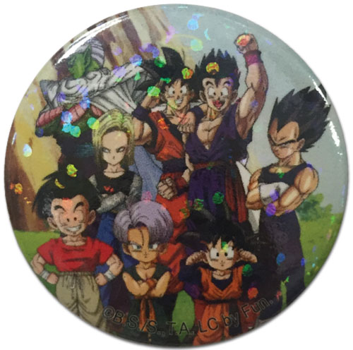 Dragon Ball Z - Group Glitter Button 1.25'', an officially licensed Dragon Ball Z product at B.A. Toys.