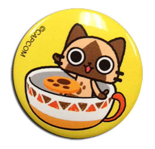 Airou From The Monster Hunter - Airou Teacup Button, an officially licensed product in our Airou From The Monster Hunter Buttons department.