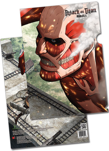 Attack On Titan - Eren Vs Colossal Titan File Folder (5 Pcs/pack), an officially licensed Attack on Titan Binder/ Folder