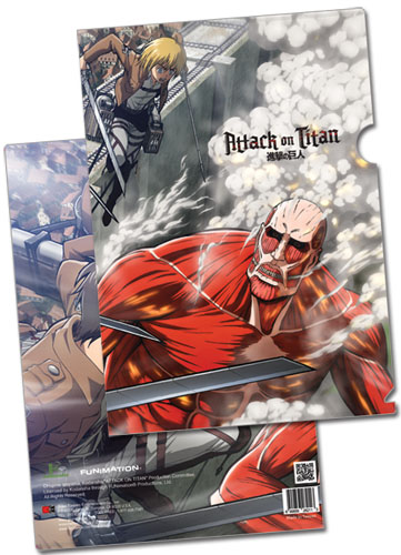 Attack On Titan - Eren, Mikasa & Armin Vs Colossal Titan File Folder (5 Pcs/Pack), an officially licensed product in our Attack On Titan Binders & Folders department.