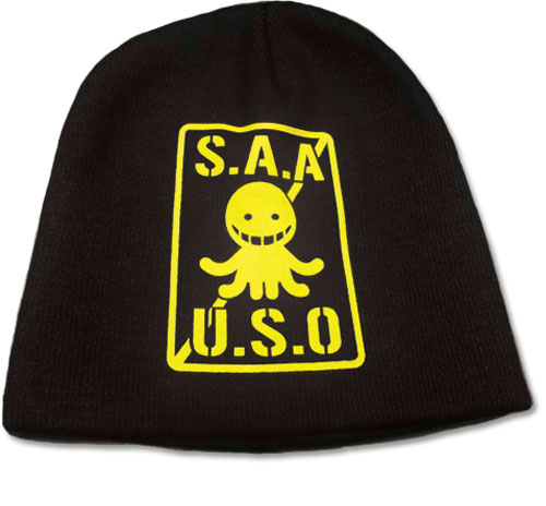 Assassination Classroom - Yellow S.A.A.U.S.O. Logo Beanie, an officially licensed product in our Assassination Classroom Hats, Caps & Beanies department.