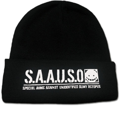 Assassination Classroom - White S.A.A.U.S.O. Logo Beanie, an officially licensed product in our Assassination Classroom Hats, Caps & Beanies department.