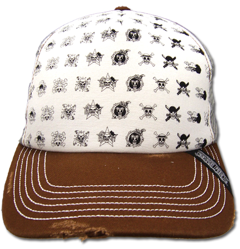One Piece Skull Icon Pattern Trucker Cap officially licensed product at B.A. Toys.