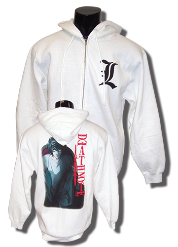 Death Note L Zip White Hoodie XL, an officially licensed product in our Death Note Hoodies department.