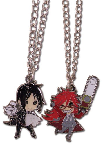 Black Butler - Sd Sebastian & Grell Necklace Set, an officially licensed Black Butler product at B.A. Toys.