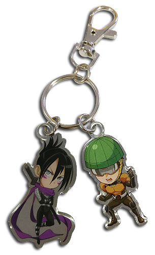 One Punch Man - Sd Sonic & Mumen Rider Metal Keychain, an officially licensed product in our One-Punch Man Key Chains department.
