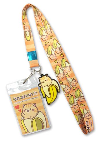 Bananya - Tabby Bananya Lanyard, an officially licensed Bananya product at B.A. Toys.