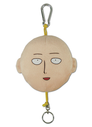 One Punch Man - Saitama Face Plush Keychain, an officially licensed product in our One-Punch Man Key Chains department.