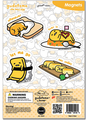 Gudetama - Foods Magnet Sheet, an officially licensed product in our Gudetama Magnet department.