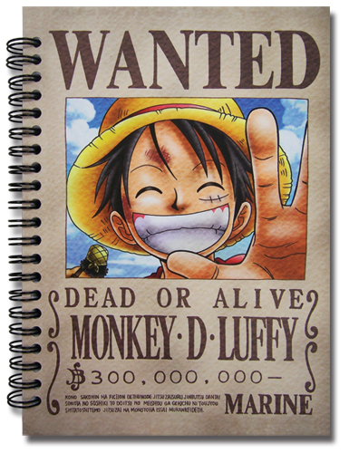 One Piece Ruffy Wanted Poster Notebook officially licensed product at B.A. Toys.