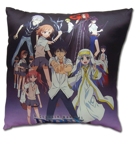 A Certain Magical Index - Group Shot Square Pillow, an officially licensed A Certain Magical Index Pillow
