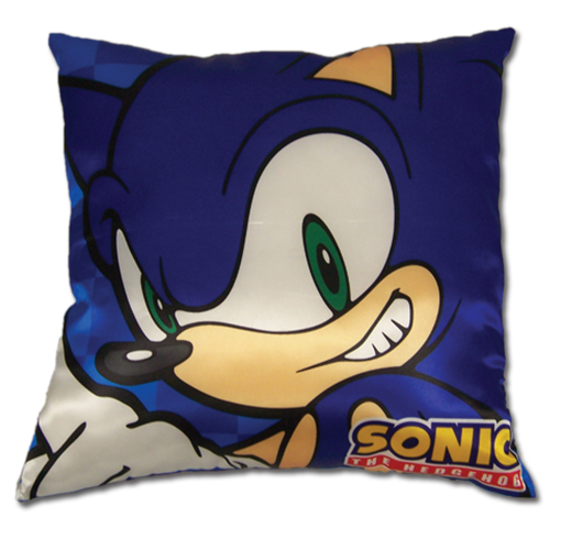 Sonic The Hedgehog Sonic Square Pillow officially licensed Sonic Pillows product at B.A. Toys.