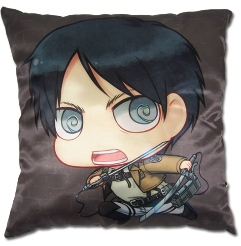 Attack On Titan - Sd Eren Square Pillow officially licensed Attack On Titan Pillows product at B.A. Toys.