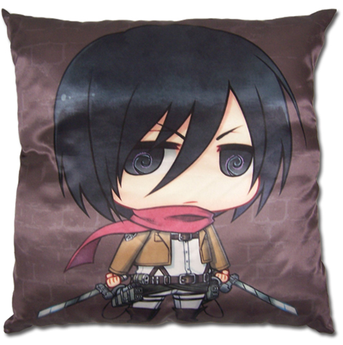 Attack On Titan - Sd Mikasa Square Pillow, an officially licensed Attack on Titan Pillow