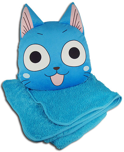 Fairy Tail - Happy Pillow With Blanket, an officially licensed product in our Fairy Tail Pillows department.