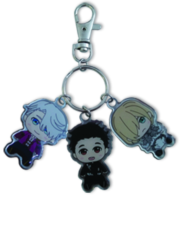 Yuri On Ice!!! - Sd Yuri, Victor & Yurio Metal Keychain, an officially licensed product in our Yuri!!! On Ice Key Chains department.