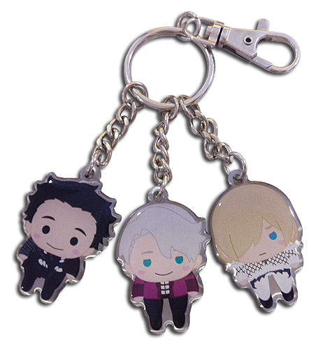 Yuri On Ice!!! - Pinched Sd Trip Metal Keychain, an officially licensed product in our Yuri!!! On Ice Key Chains department.