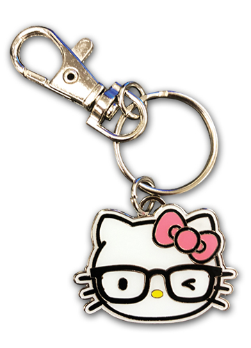 Hello Kitty - Hello Kitty With Eyeglasses Enamel Metal Keychain officially licensed Hello Kitty Pins & Badges product at B.A. Toys.