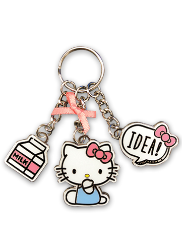 Hello Kitty - Hello Kitty With Idea Enamel Metal Multi-keychain officially licensed Hello Kitty Pins & Badges product at B.A. Toys.