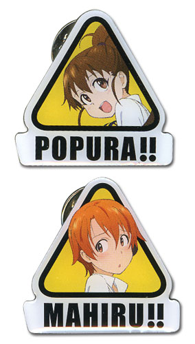 Wagnaria!! Popura & Mahiru Metal Pinset officially licensed Wagnaria!! Pins & Badges product at B.A. Toys.