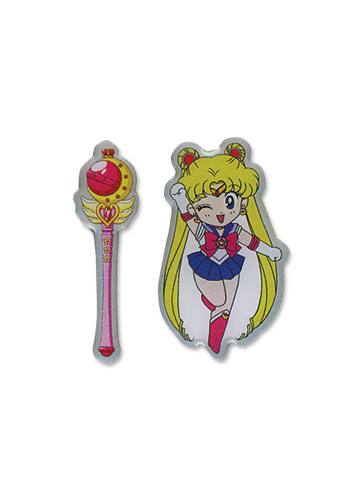 Sailormoon Sd Moon & Stick Metal Pin Set, an officially licensed product in our Sailor Moon Pins & Badges department.