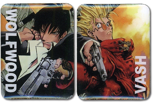 Trigun Vash & Wolfwood Pinset officially licensed Trigun Pins & Badges product at B.A. Toys.