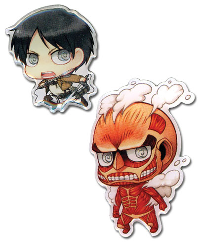 Attack On Titan - Eren & Titan Metal Pins officially licensed Attack On Titan Pins & Badges product at B.A. Toys.