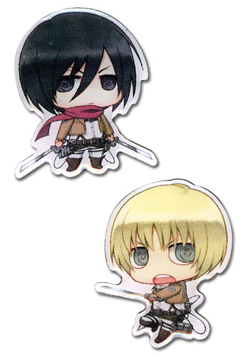 Attack On Titan - Mikasa And Armin Metal Pins officially licensed Attack On Titan Pins & Badges product at B.A. Toys.