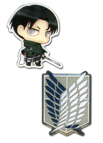 Attack On Titan - Sd Levi & Survey Corps Emblem Metal Pins, an officially licensed Attack On Titan product at B.A. Toys.
